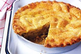 apple pie with slice missing